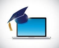 Illustrazione online di concetto di graduazione di istruzione Fotografia Stock Libera da Diritti