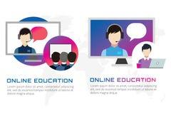 Illustrazione online di vettore di istruzione Webinar Fotografie Stock Libere da Diritti