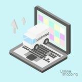 Illustrazione online isometrica di acquisto Fotografia Stock