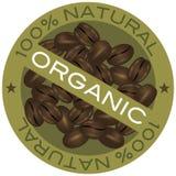 Illustrazione organica del contrassegno dei chicchi di caffè Fotografie Stock Libere da Diritti