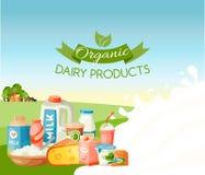 Illustrazione organica di vettore dei prodotti lattier-caseario Fresco, insegna dell'alimento di qualità, manifesto Grandi gusto  royalty illustrazione gratis