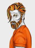 Illustrazione originale di vettore, uomo con l'acconciatura alla moda hipster Stampa su una maglietta o su un autoadesivo Uomo ba illustrazione vettoriale
