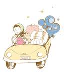 Illustrazione originale, ragazza in sua automobile Fotografie Stock Libere da Diritti