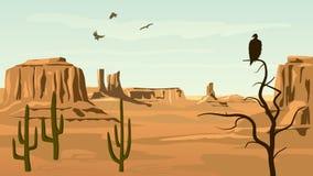 Illustrazione orizzontale del fumetto dell'ovest selvaggio della prateria. Fotografie Stock Libere da Diritti