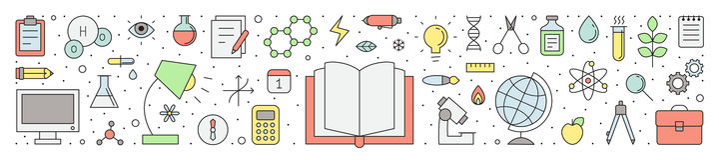Illustrazione orizzontale di vettore del profilo di scienza e di istruzione illustrazione di stock