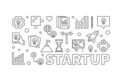 Illustrazione orizzontale o insegna di vettore Startup nella linea stile illustrazione di stock