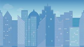Illustrazione orizzontalmente senza cuciture di vettore di paesaggio urbano Mattina colorful Vista panoramica illustrazione vettoriale