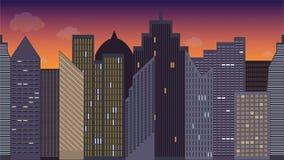 Illustrazione orizzontalmente senza cuciture di vettore di paesaggio urbano notte colorful Vista panoramica illustrazione vettoriale
