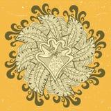 Illustrazione ornamentale con lo scarabocchio floreale ed il fondo liso di lerciume Fotografia Stock Libera da Diritti