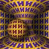 Illustrazione ottica di illusione di moto La sfera è rotazione intorno di un hyperboloid commovente Priorità bassa astratta di fa Immagini Stock
