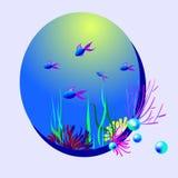 Illustrazione ovale di vettore con il pesce e le perle royalty illustrazione gratis