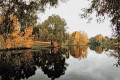 Illustrazione - paesaggio di autunno con la riflessione nell'acqua di uno stagno immagine stock libera da diritti