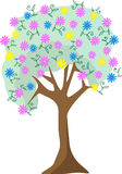 Illustrazione pastello variopinta dell'albero del fiore Fotografie Stock Libere da Diritti