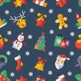 Illustrazione per illustrazione blu di vettore di progettazione piana del nuovo anno e di Natale Immagini Stock