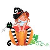 Illustrazione per Halloween con una strega sveglia che si siede sulla grande pompa Fotografia Stock