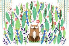 Illustrazione per i bambini: Cat Has godere comodo fresco una volta nascosto nella natura illustrazione di stock