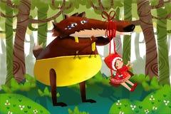 Illustrazione per i bambini: Grande Wolf Falls innocente per lo scherzo di poca ragazza astuta con il mantello rosso Fotografie Stock Libere da Diritti