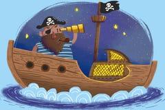 Illustrazione per i bambini: Il capitano ed il suo dei pirati nave nell'ambito della notte della luna Fotografia Stock