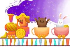 Illustrazione per i bambini: Il treno della tazza porta i piccoli animali, intestati lontano Fotografia Stock Libera da Diritti