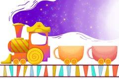 Illustrazione per i bambini: Il treno vuoto della tazza intestato lontano Immagini Stock