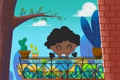 Illustrazione per i bambini: La piccola ragazza di Brown con capelli ricci neri nel suo piccolo giardino del balcone Fotografia Stock