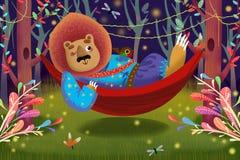 Illustrazione per i bambini: Lion King sta trovandosi su un'amaca in foresta Immagini Stock