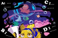 Illustrazione per i bambini: Oh, no, troppo compito! Il poco pesce si preoccupa alla scuola del mare Immagine Stock