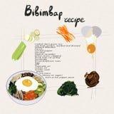 Illustrazione per il bibimbap di ricetta Metta dei prodotti del bibimbap illustrazione vettoriale