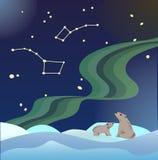 Illustrazione per il giorno del ` s della madre, l'orso ed il cucciolo di orso al Po del nord illustrazione vettoriale