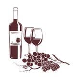 Illustrazione per la carta del vino su un fondo bianco Immagine Stock Libera da Diritti