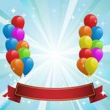 Illustrazione per la scheda di buon compleanno con gli aerostati Fotografie Stock Libere da Diritti