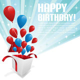 Illustrazione per la scheda di buon compleanno con gli aerostati Immagine Stock