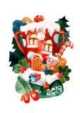 Illustrazione per le cartoline di Natale watercolor Il porcellino è venuto alla casa con i regali fotografia stock libera da diritti