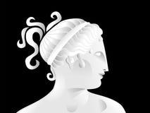 Illustrazione piacevole del profilo di una scultura femminile greca Illustrazione Vettoriale