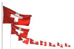 Illustrazione piacevole della bandiera 3d di celebrazione - la Svizzera ha isolato le bandiere ha disposto diagonale, l'immagine  illustrazione di stock