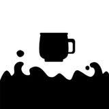 Illustrazione piana in bianco e nero della tazza di caffè con il posto per il testo Fotografia Stock Libera da Diritti