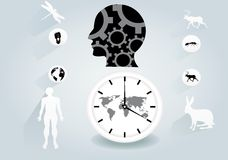 Illustrazione piana concettuale di vettore di progettazione di Ecoology Testa umana nera, orologio, animali Fotografia Stock