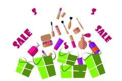 Illustrazione piana Cosmetici: rossetto, ombretto, mascara, crema e regali su un fondo bianco royalty illustrazione gratis