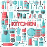 Illustrazione piana degli utensili da cucina e della cucina Fotografia Stock