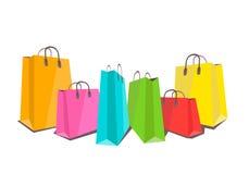 Illustrazione piana dei sacchetti della spesa variopinti su bianco Immagini Stock