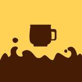 Illustrazione piana del caffè del cioccolato, bevanda della cioccolata calda Fotografie Stock Libere da Diritti