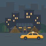 Illustrazione piana del caffè della città di notte illustrazione di stock