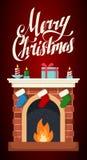 Illustrazione piana del camino di Natale Fotografia Stock Libera da Diritti
