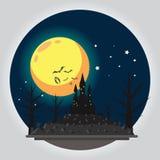 Illustrazione piana del castello di Halloween di progettazione Immagini Stock Libere da Diritti