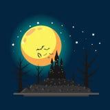 Illustrazione piana del castello di Halloween di progettazione Immagini Stock