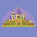Illustrazione piana del castello di principessa di favola illustrazione di stock