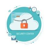 Illustrazione piana del centro di sicurezza Nuvola con la serratura e le icone Fotografia Stock Libera da Diritti