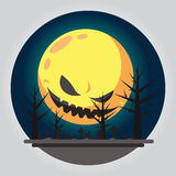 Illustrazione piana del cimitero di Halloween di progettazione Fotografia Stock