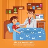 Illustrazione piana del dottore Attending Patient Home Fotografia Stock Libera da Diritti