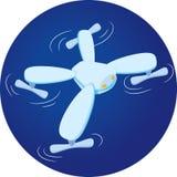 Illustrazione piana del fuco sveglio Quadrocopter sorridente Fotografia Stock Libera da Diritti